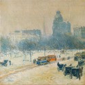 Ocher Art 30x30 INCHES, Childe Hassam   Winter in Union Square Canvas Painting available at Flipkart for Rs.8150