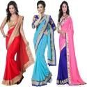 Aai Shree Khodiyar Art Floral Print Bollywood Georgette Sari available at Flipkart for Rs.1650