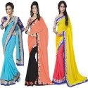 Aai Shree Khodiyar Art Floral Print Bollywood Georgette Sari available at Flipkart for Rs.1585
