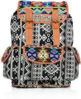 Shaun Design Tribal Embroidered Black 8 L Medium Backpack Black, Grey, Size - 380