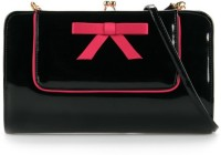 Elizabeth's Tailleur Elizabeth's Tailleur Double Bow Clutch Women Casual Black Artificial Leather Clutch