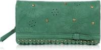 R&F Designs Floral Leena Clutch Green