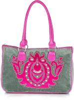 Shaun Design Grey Velvet Embroidered Shoulder Bag Grey