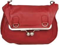 Goguava Leather Bag With Clasp Closure Sling Bag Red