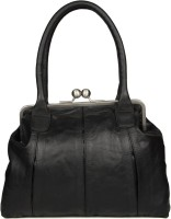 Goguava Leather Bag With Clasp Closure Hobo Black