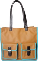 Toteteca Bag Works Double Pocket Tote Hand Bag Tan::Turquoise::Brown