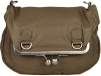 Goguava Leather Bag With Clasp Closure Sling Bag Grey