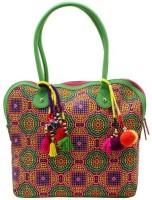 Jaipurse Printed Cotton Office Tassels Hand-held Bag Multicolor