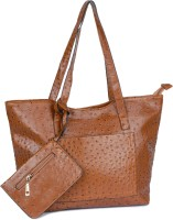 Buckleup Ostrich Print Shoulder Bag Brown