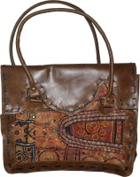 Lal Haveli Rajasthani Handmade Zari Embroidered Work leather Shoulder Bag Brown