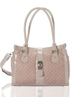 Aapno Rajasthan Quilted and Braided Handle Faux Leather Hand-held Bag Rose Quartz & Silver
