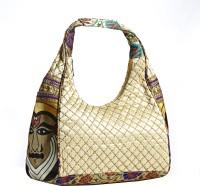 Aapno Rajasthan Faux Leather Slouchy with Kerala Folk Dance Print Hobo White