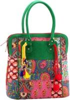 Jaipurse Printed Women Shopping Cotton Tassels Hand-held Bag Green