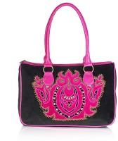 Shaun Design Black Velvet Embroidered Shoulder Bag Black