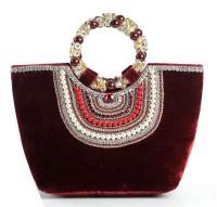 Aapno Rajasthan Velvet with Stone & Bead Handles Hand-held Bag Maroon Red