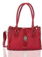 Aapno Rajasthan Quilted and Braided Handle Faux Leather Hand-held Bag Cherry Red & Silver