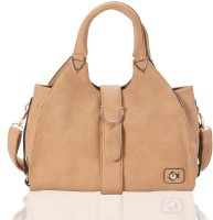 Aapno Rajasthan Smooth Faux Leather wiith Buckle Flap Hand-held Bag Fawn Brown