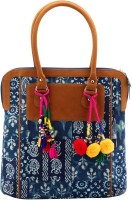 Jaipurse Printed Cotton Shopping with Tassels for Women Hand-held Bag Multicolor