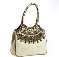 Aapno Rajasthan Bead Embellished Hand-held Bag White