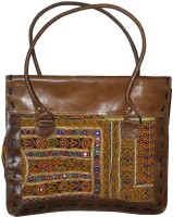Lal Haveli Ethnic Handmade Mirror Embroidery Work leather Shoulder Bag Yellow