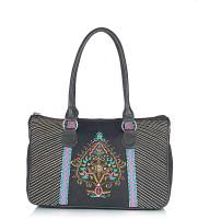 Shaun Design Black Canvas Embroidered Shoulder Bag Black