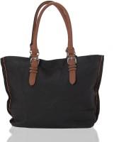 Aapno Rajasthan Grainy Classic Faux Leather Hand-held Bag Black & Tan Brown