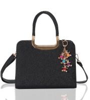 Aapno Rajasthan Grainy Faux Leather Hand-held Bag Black