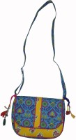 Lal Haveli Rajasthani Handmade Beautiful Flower Design Printed Sling Bag Multicolor