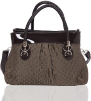 Aapno Rajasthan Quilted Faux Leather Hand-held Bag Taupe Grey & Black