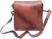 Grasshooper GH-LLSVB Leather Laptop Side Vertical Sling Bag Brown