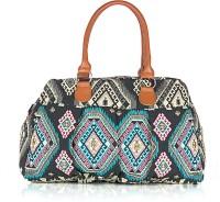 Shaun Design Black Jacquard Embroidered Hand-held Bag Black