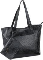 Buckleup Ostrich Print Shoulder Bag Black