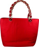 Arisha Kreation Co Beautiful Stones, Mirror, Pearl Studded Embroidered Standing Peacock Hand-held Bag Red