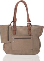 Aapno Rajasthan Grainy Classic Faux Leather Hand-held Bag Rose Quartz & Tan Brown