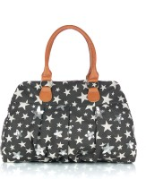 Shaun Design Grey Star Embroidered Hand-held Bag Black