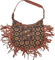 Lal Haveli Afghan Design Embroidery Sling Bag Brown