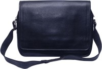Grasshooper GH-LSHB Leather Side Horizontal Messenger Bag Black