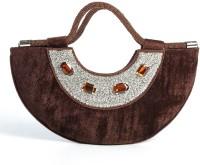Aapno Rajasthan Velvet and Stone Crescent Moon Hand-held Bag Deep Brown