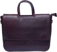Grasshooper GH-LSSLHB Leather Slim & Single cut Laptop Hand Messenger Bag Brown