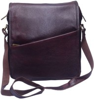 Grasshooper GH-LLSB Leather Laptop Side Sling Bag Brown