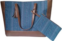 Shor Sharaba Denim Tote Brown Shoulder Bag Blue