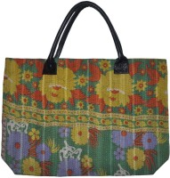 Lal Haveli Rajasthani Ethnic Printed Cotton Kantha Thread Work Shoulder Bag Green