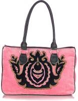 Shaun Design Pink Velvet Embroidered Shoulder Bag Pink