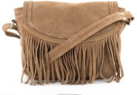 Incredible Range Women Beige Genuine Leather Sling Bag