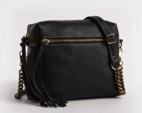 Leahter Women Black Genuine Leather Sling Bag