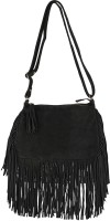 Johri's Women Black Genuine Leather Sling Bag