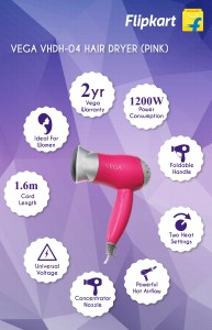 Vega Go Handy VHDH-04 Hair Dryer Pink