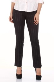 Mustard Regular Fit Women's Black Trousers