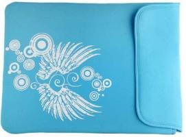 Techbyte Light Blue Wings Printed Sleeve Laptop Bag