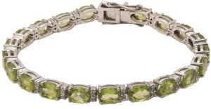 Jewels Paradise Lovely Green Sterling Silver Peridot Rhodium Plated Tennis Bracelet